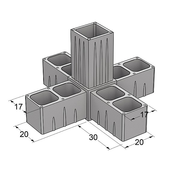 5 WAY CONNECTOR 20x20, GREY